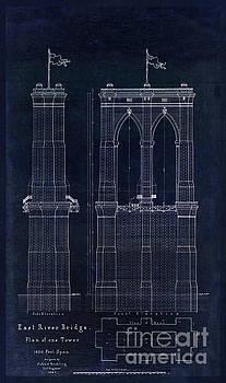 Tina Lavoie - Restored Antique Blueprint of the Brooklyn Bridge, East River Bridge