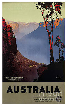 Retro Australia Travel Poster by Mindy Sommers