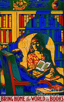 Retro Books Poster 1920 by Padre Art