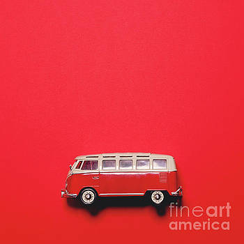 Retro bus on red background - Minimal design  by Aleksandar Mijatovic