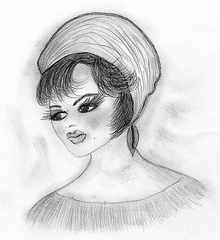 Retro Girl in Hat by Sonya Chalmers