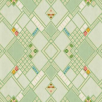 Retro Green Diamond Tile Vintage Wallpaper Pattern by Tracie Kaska