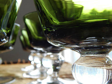 Retro Green Glass Goblets by Phil Perkins
