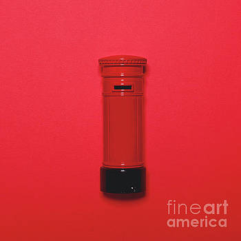 Retro post box on red background - Top view minimal design by Aleksandar Mijatovic