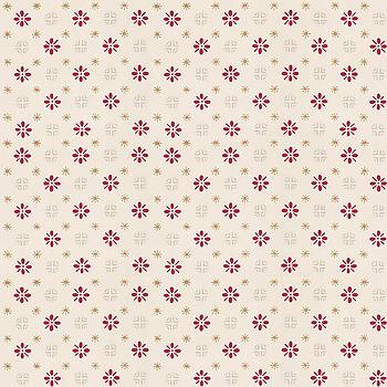 Retro Red Flower Gold Star Vintage Wallpaper by Tracie Kaska