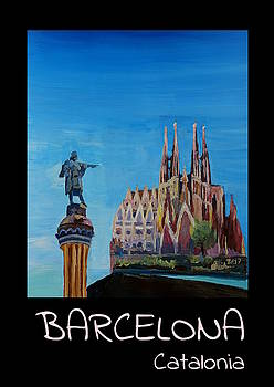 Retro Vintage Poster of Barcelona with Columbus Monument and Sagrada Familia by M Bleichner