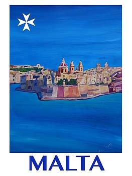 Retro Vintage Poster of Malta Valletta View of City of Knights I by M Bleichner