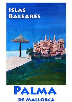 Retro Vintage Poster of Palma de Mallorca Cathedral La Seu by M Bleichner