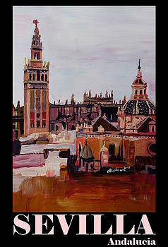 Retro Vintage Poster of Seville Spain Andalucia with Giralda by M Bleichner