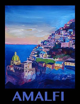 RETRO Vintage Style Poster Amazing Amalfi Coast At Sunset I by M Bleichner