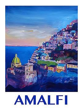 RETRO Vintage Style Poster Amazing Amalfi Coast At Sunset II by M Bleichner