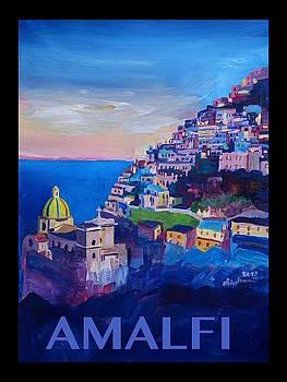 RETRO Vintage Style Poster Amazing Amalfi Coast At Sunset III by M Bleichner