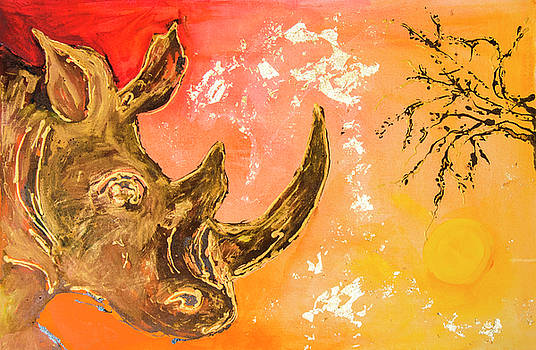 Rhino Sunset by Rina Bhabra