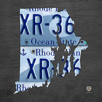 Design Turnpike - Rhode Island State License Plate Map Recycled Car Tag Art