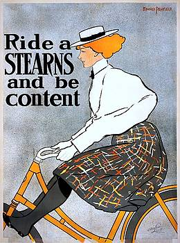 Ride a Stearns and be content, bicycle advertising poster, 1896 by Vintage Printery