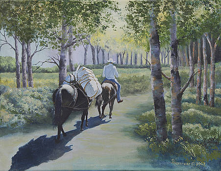 Rider and Pack Horse by Ann Arensmeyer