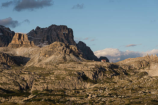 Rifugio Lavaredo in the distance in Dolomites mountains, Italy, Europe by Blaz Gvajc