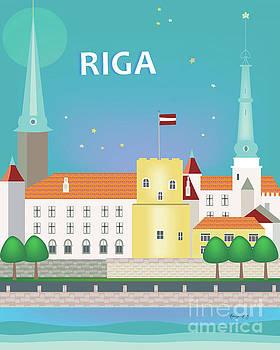 Riga, Latvia Vertical Skyline by Karen Young