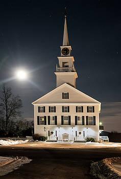 Rindge Meeting House at Full Moon by Gordon Ripley