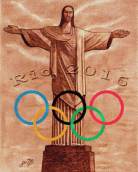 Rio 2016 Christ The Redeemer Statue artwork by Georgeta Blanaru