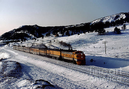 Rio Grande Zephyr Trainset in the Snow, Plainview Colorado, 1983 by Wernher Krutein