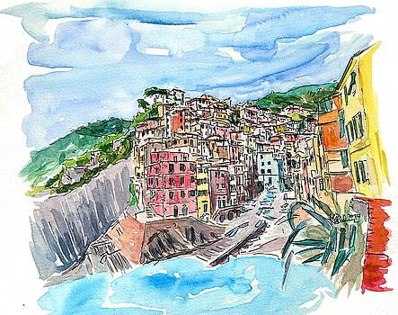Riomaggiore Cinque Terre View from Mediterranean III by M Bleichner