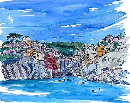 Riomaggiore Cinque Terre View from Mediterranean by M Bleichner