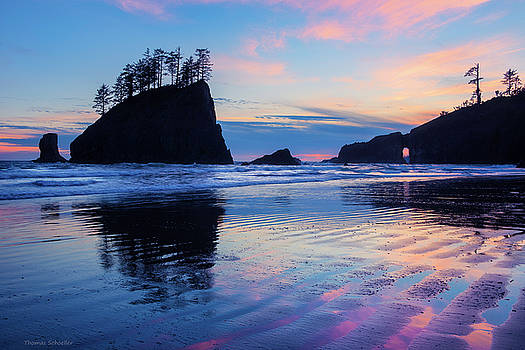 Ripple Reflections of Dusk at Second Beach by Thomas Schoeller