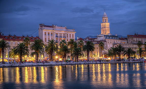 Elenarts - Elena Duvernay photo - Riva waterfront, houses and Cathedral of Saint Domnius, Dujam, Duje, bell tower Old town by night, Split, Croatia, HDR