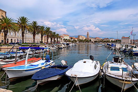Elenarts - Elena Duvernay photo - Riva waterfront, houses and Cathedral of Saint Domnius, Dujam, Duje, bell tower Old town, Split, Croatia