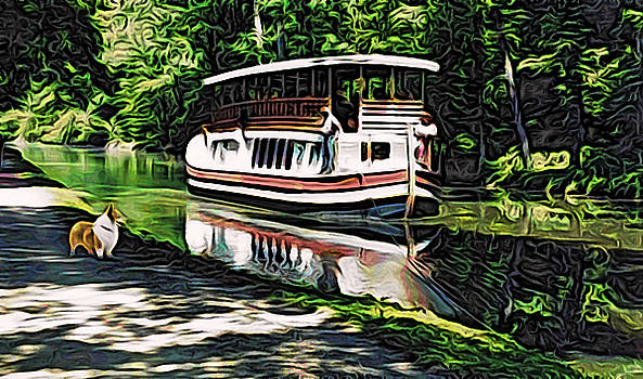Kathy Kelly - River Boat with Welsh Corgi