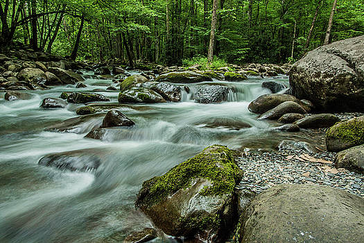 River Running Over Boulders Smoky Mountains by Carol Mellema