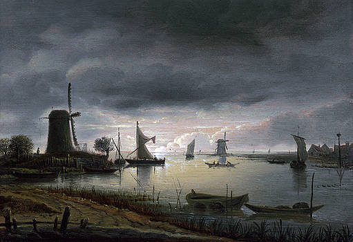 Anthonie van Borssom - River Scene with Windmill and Boats, Evening