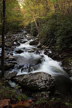 River vista of swiftly flowing water over rocks in an autumnal mountain landscape by Natalie Schorr