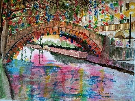 River Walk At Christmas by B Kathleen Fannin