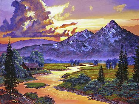 Riverside Cabin by David Lloyd Glover