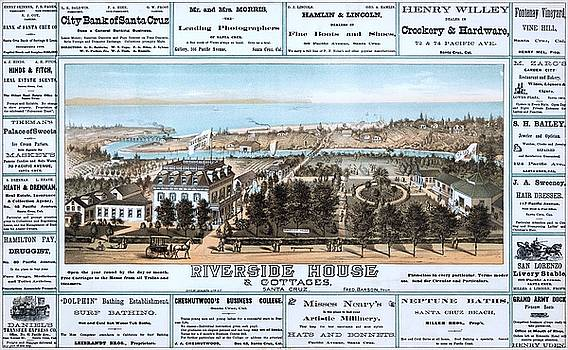 Riverside house cottages, Santa Cruz, California, advertising billboard,1878 by Vintage Printery