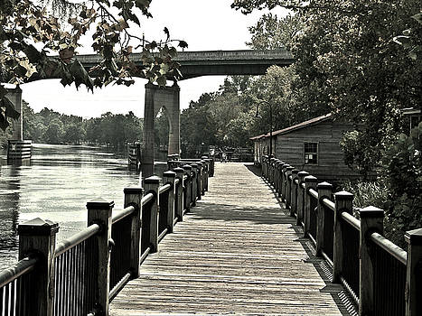 Riverwalk Conway South Carolina Black and White by Joey OConnor
