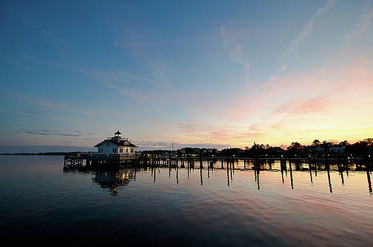 Roanoke Marshes Lighthouse At Dusk by David Sutton