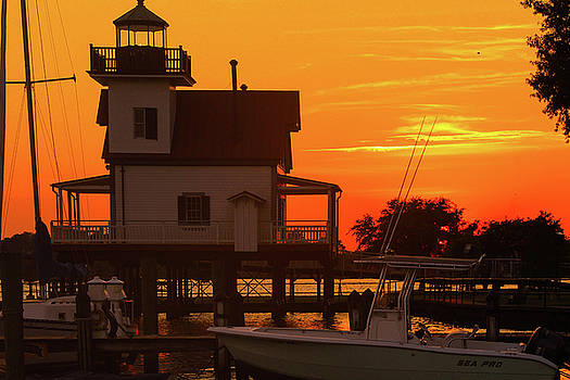 Roanoke River Lighthouse at Sunset by Carolyn Ricks
