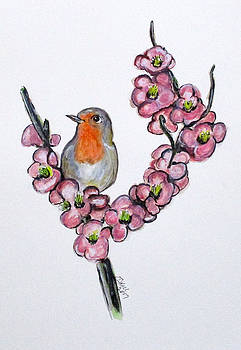 Robin And Peach Blossoms by Clyde J Kell