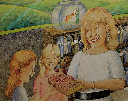Robin Gives The Book of Stories To The Children by Larry Whitler