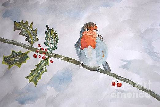 Robin in a winter forest by Inessa Williams