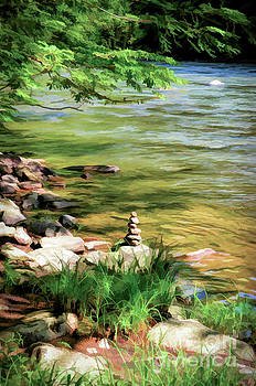 Rock Cairn Along The Bluestone River by Kerri Farley