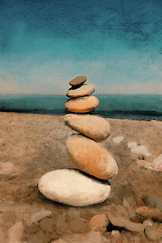 Rock cairn Lake Superior by Yolanda Nussdorfer