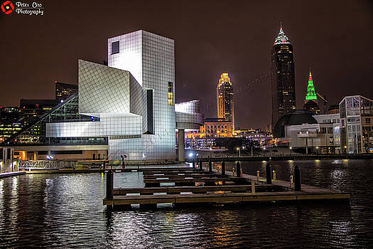 Rock Hall of Fame and Cleveland Skyline by Peter Ciro