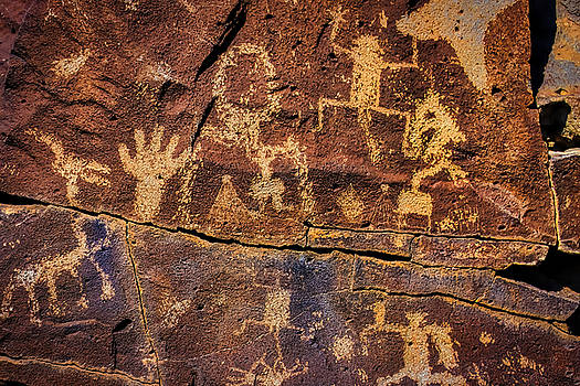 Rock Wall Of Petroglyphs by Garry Gay