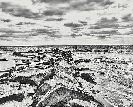 Rocks at Cape May in Black and White by Emily Kay