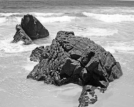 Chris Smith - Rocks On a Beach Byron Bay Black and White Image