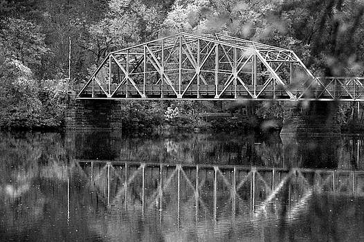 Rocks Village Bridge in black and white by Nancy Landry